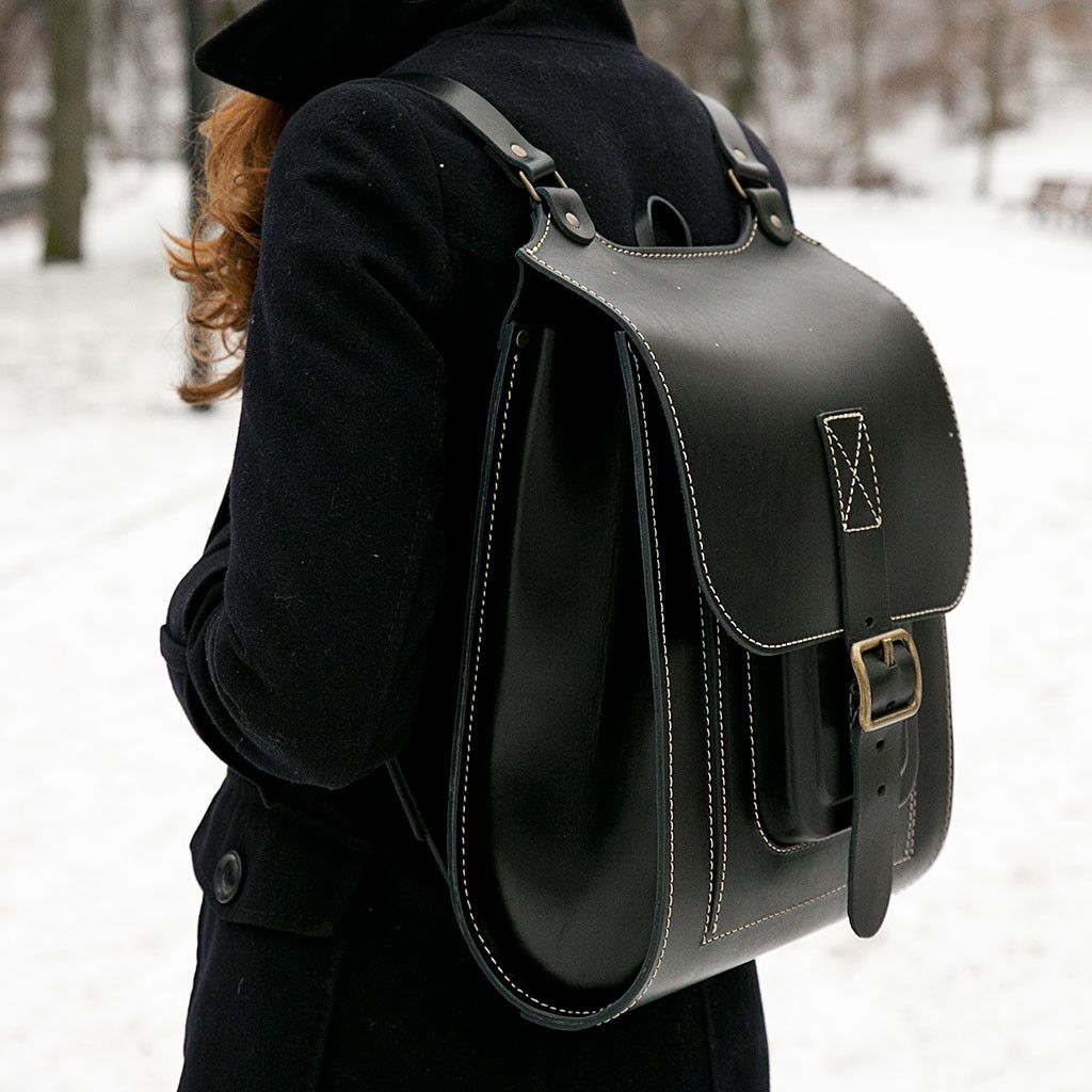 Black leather backpack with white stitching handmade | I need this ...