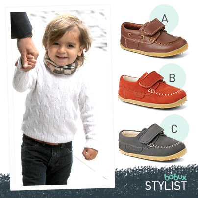 It's time for another Bobux Stylist! Tell us which moccasin completes this  little guy's outfit