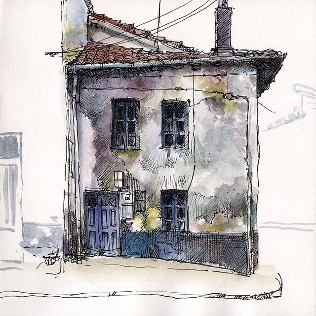 Old House Sketch Painting Sketches Watercolor Architecture