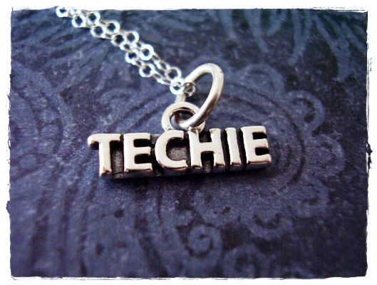 Silver Techie Necklace - Sterling Silver Techie Charm on a Delicate 18 Inch Sterling Silver Cable Chain