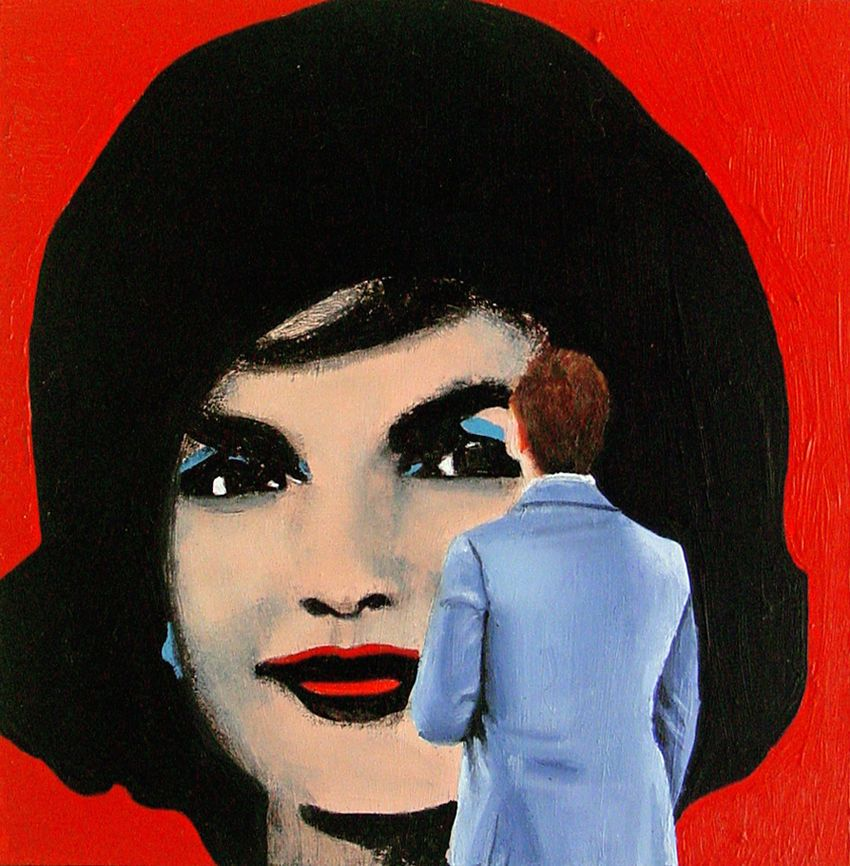 Jackie Man Enjoying Painting Of Jackie Kennedy By Andy Warhol