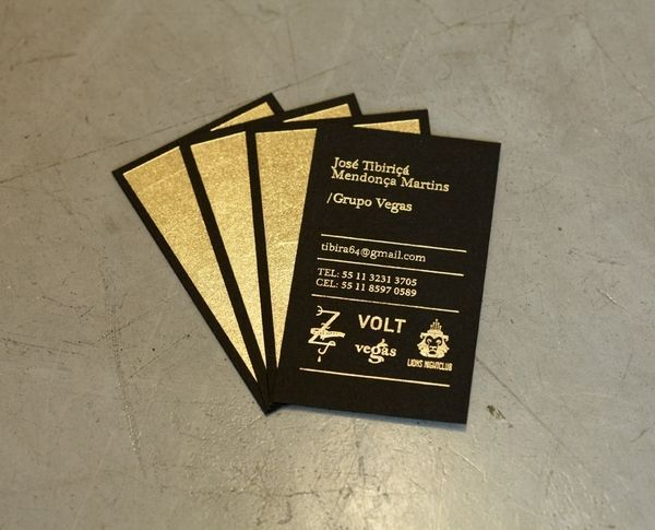 Gold Foil Stamping On Black Stock Business Card