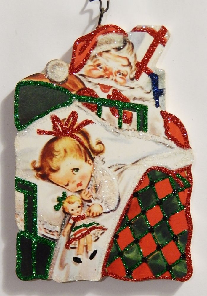 from strombolis wagon on ebay girl in bed w doll visit from santa - Ebay Christmas Ornaments