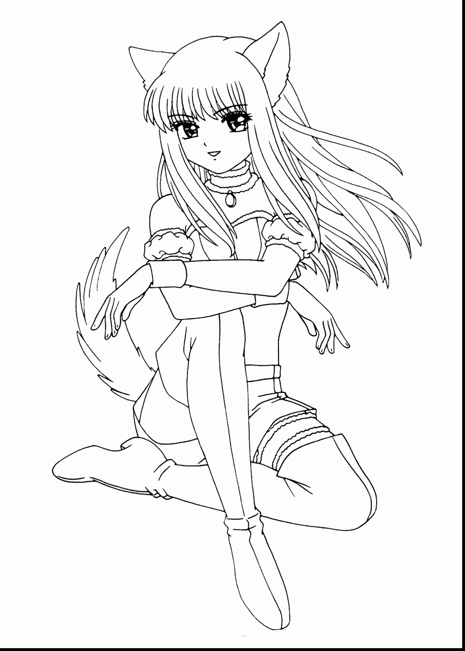 Cute Anime Cat Coloring Pages Download Anime Wolf Girl Princess Coloring Pages Disney Princess Coloring Pages