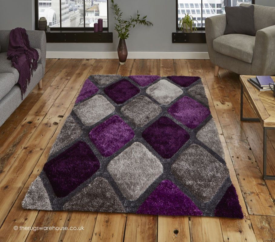 Melio Grey Purple Rug in 2019   Living room ideas purple ...