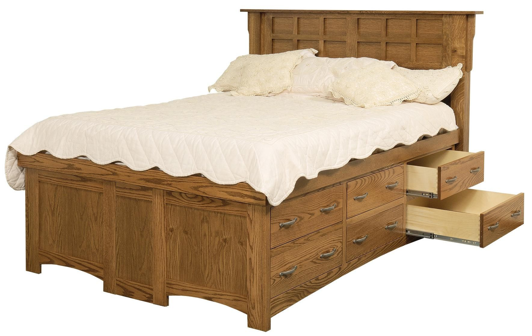 Amish Arts And Crafts Queen Solid Wood Pedestal Bed With