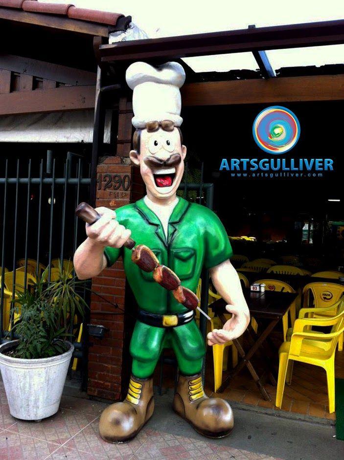 mascote em fibra de vidro fiber glass coronel picanha | Esculturas ...
