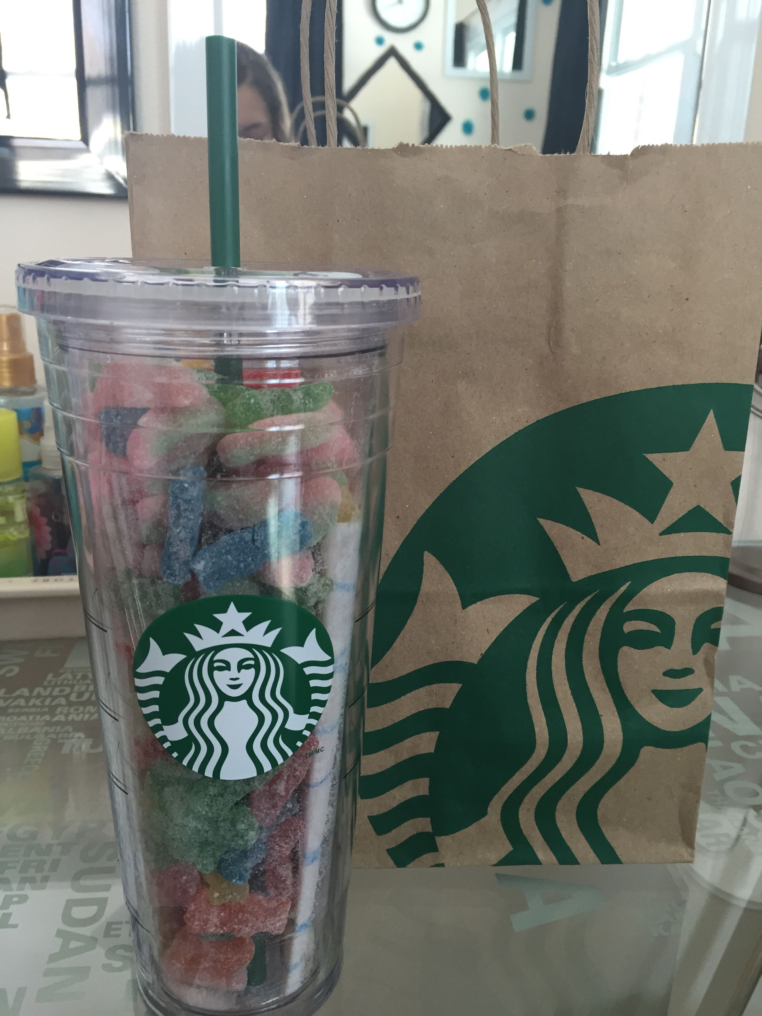 Great Birthday Gift Idea Starbucks Cup Filled With Sour Patch Kids And Watermelon A Card