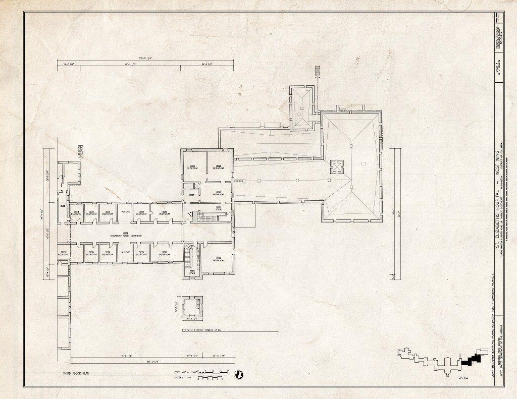 Blueprint 4 Third Floor Plan St Elizabeths Hospital West Wing 539 559 Cedar Drive Southeast Washington District of Columbia DC