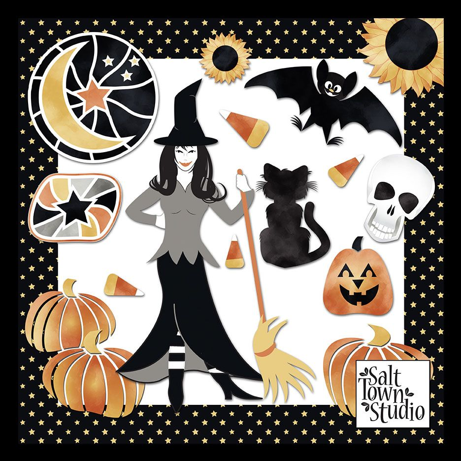 Friday's Guest Freebies ~ Salt Town Studio  ✿ Follow the Free Digital Scrapbook board for daily freebies: https://www.pinterest.com/sherylcsjohnson/free-digital-scrapbook/ ✿ Visit GrannyEnchanted.Com for thousands of digital scrapbook freebies. ✿ Free halloween clip art witch, candy corn, pumpkin, bat, black cat, sunflowers, moon, star
