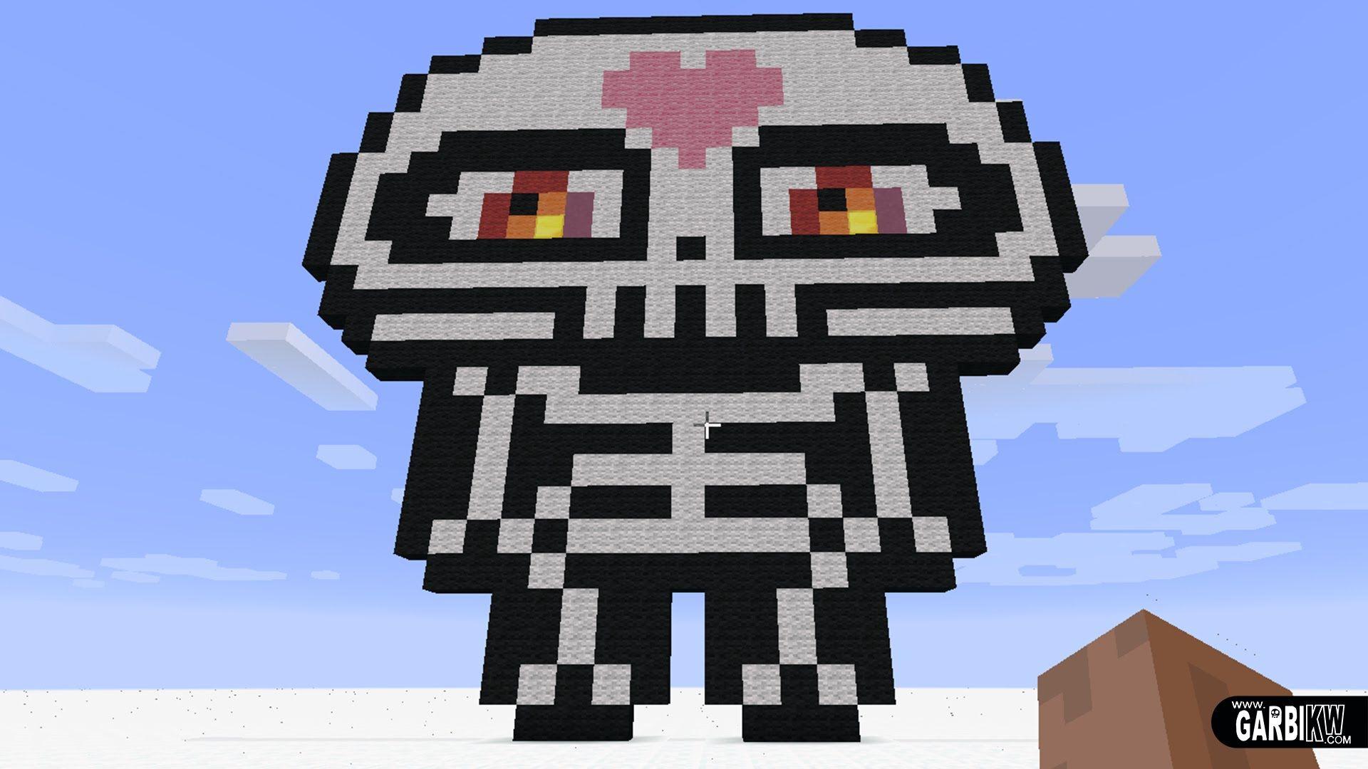 Minecraft Pixel Art - How To Make a Cute Skeleton by Garbi ...  Minecraft Cute Skeleton