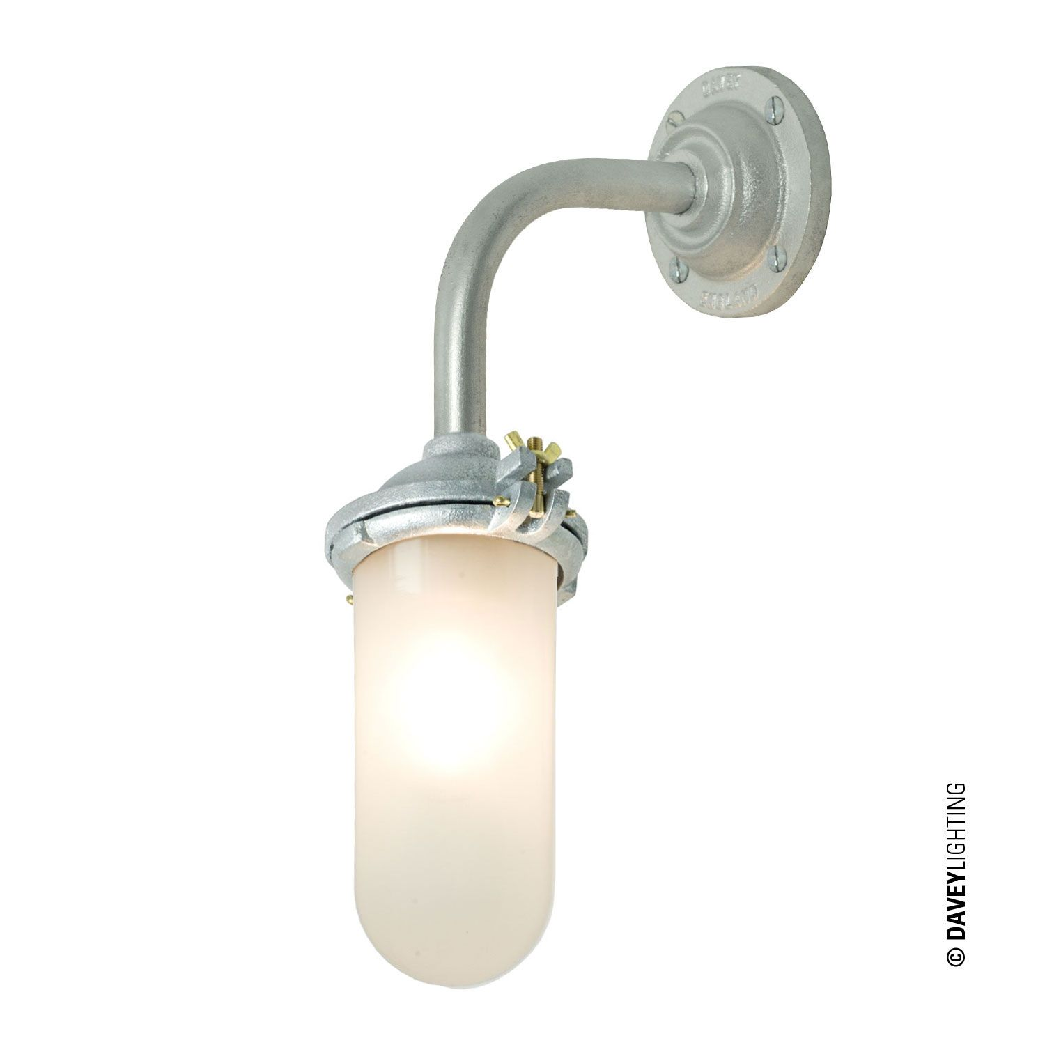 An exterior bracket light with a simple ring that retains the clear