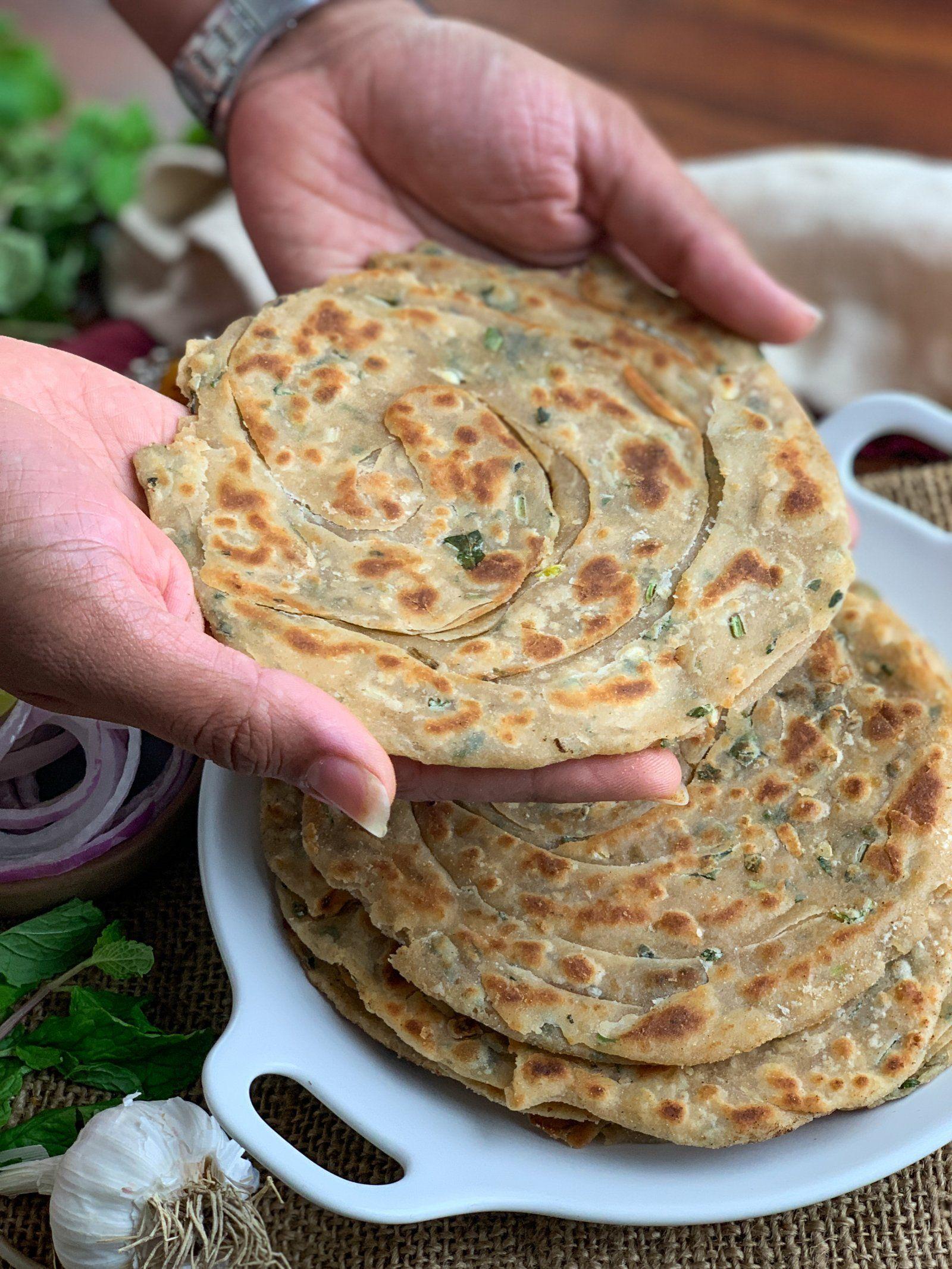 mint garlic layered paratha recipe in 2019 paratha recipes pakora recipes bread on hebbar s kitchen recipes laccha paratha id=50424
