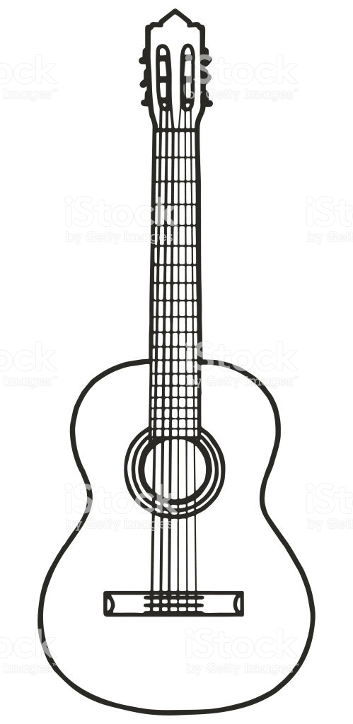Front View Guitar Monochron Guitar Outline Guitar How To Draw Hands