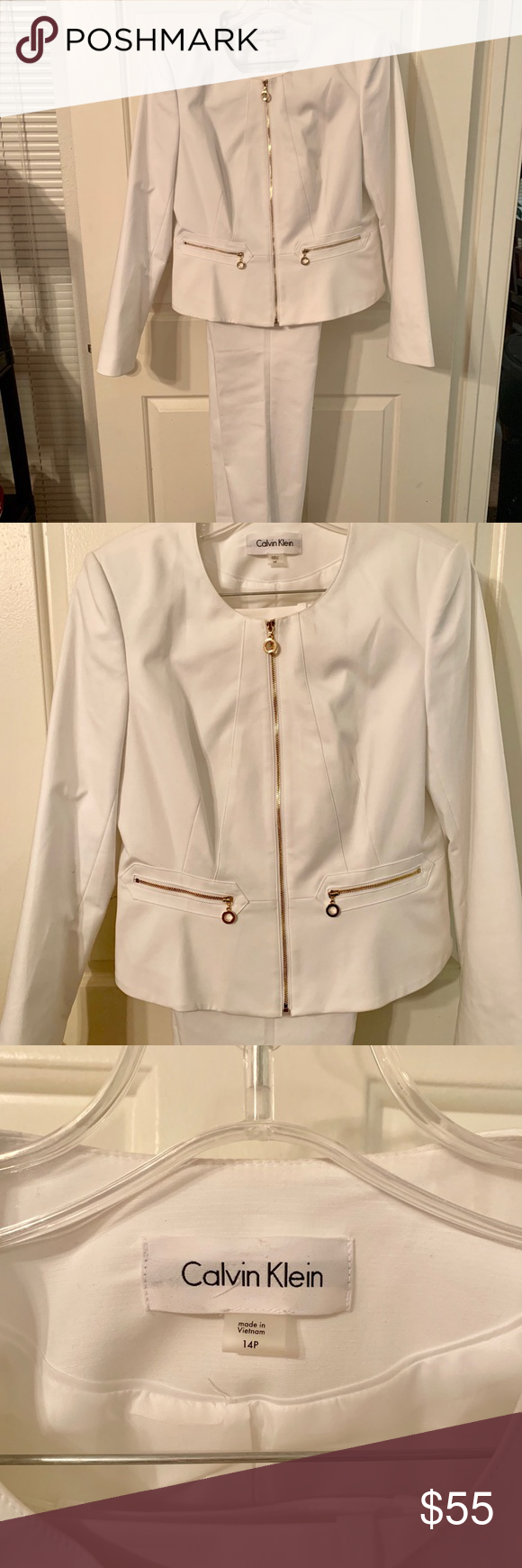 Calvin Klein White Pantsuit Size 14P This pantsuit has a gold zipper down the front and zipper pockets.  It's gently used and still in great condition Calvin Klein Other #whitepantsuit