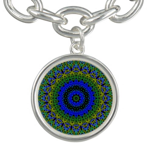 Blue green Celtic knot mandala pattern.