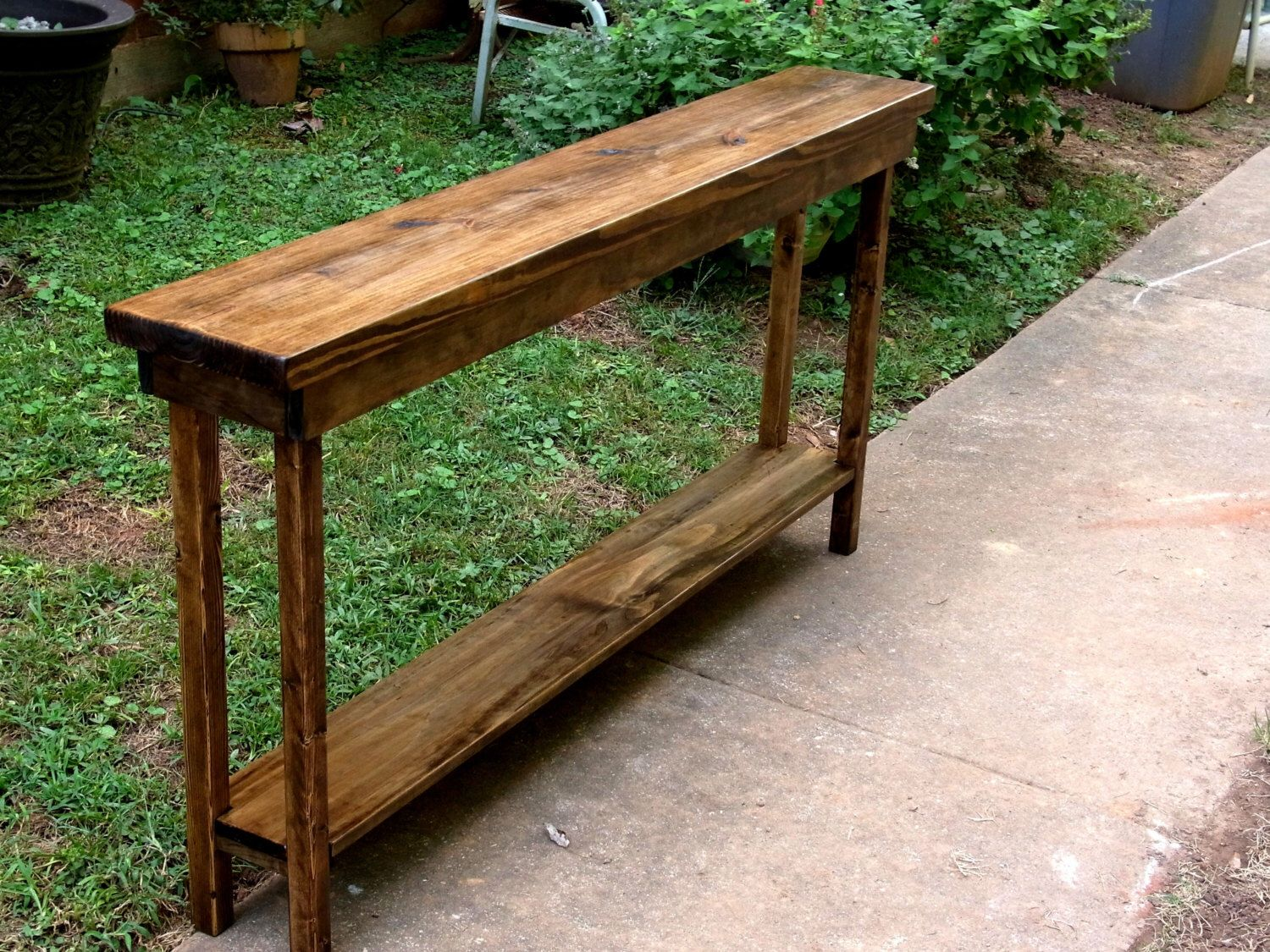Rustic Console Table Extra Narrow Sofa Table Entryway Hallway Foyer Table  With Shelf 60 Inch By DunnesWoods On Etsy ...