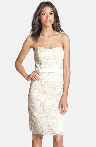 Dessy Collection Strapless Lace Overlay Matte Satin Dress | Nordstrom