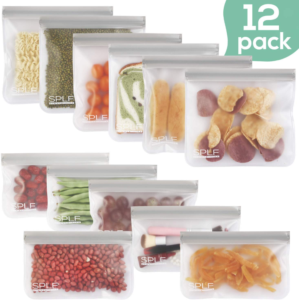 Reusable Storage Bags Silicone and Plastic Free Ziplock for Food-8 Pack