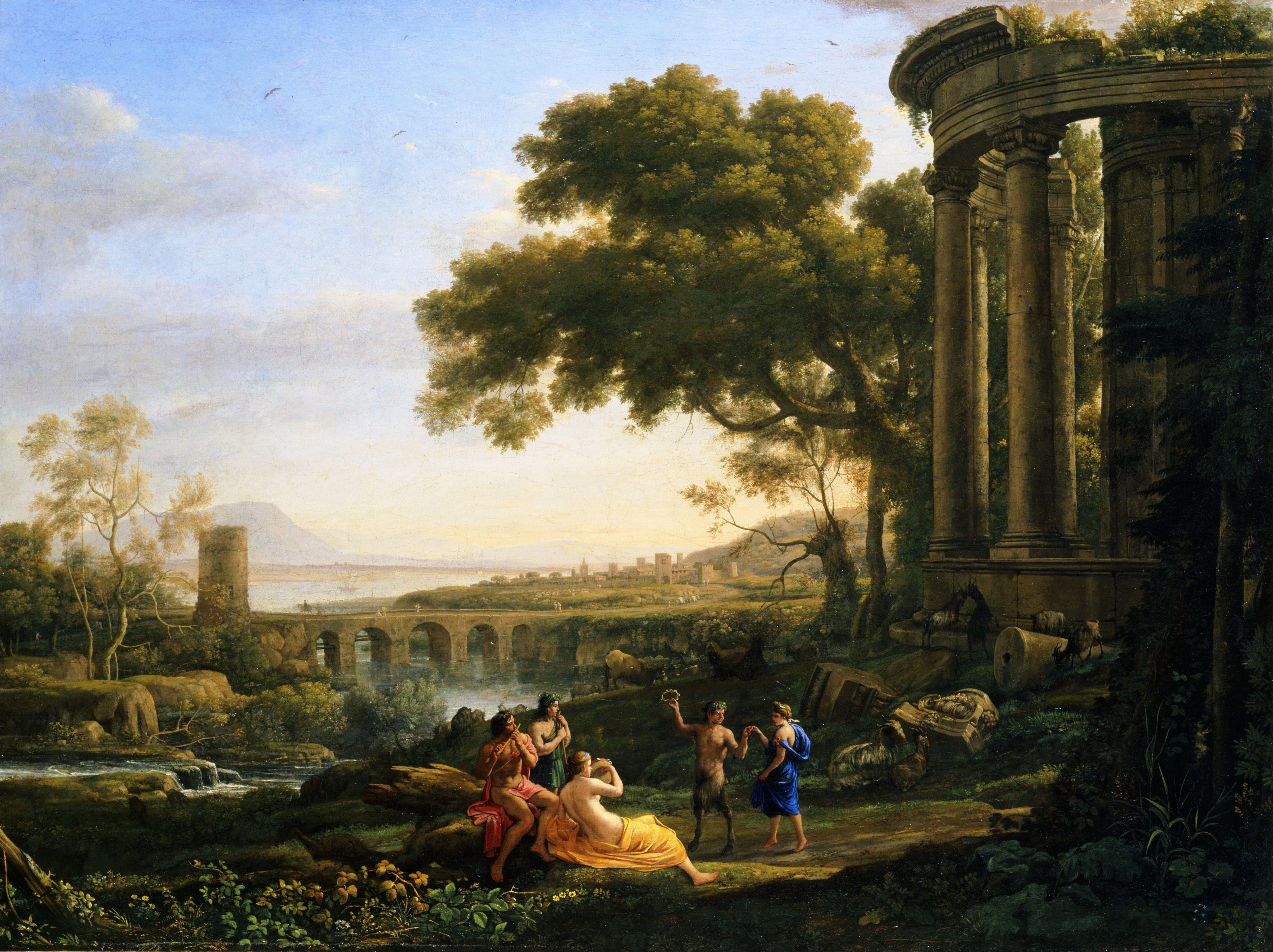 クロード・ロラン (Claude Lorrain)「踊るサテュロスとニンフのいる風景(Landscape with Nymph and Satyr Dancing)」 製作年: 1641 収蔵: トレド美術館