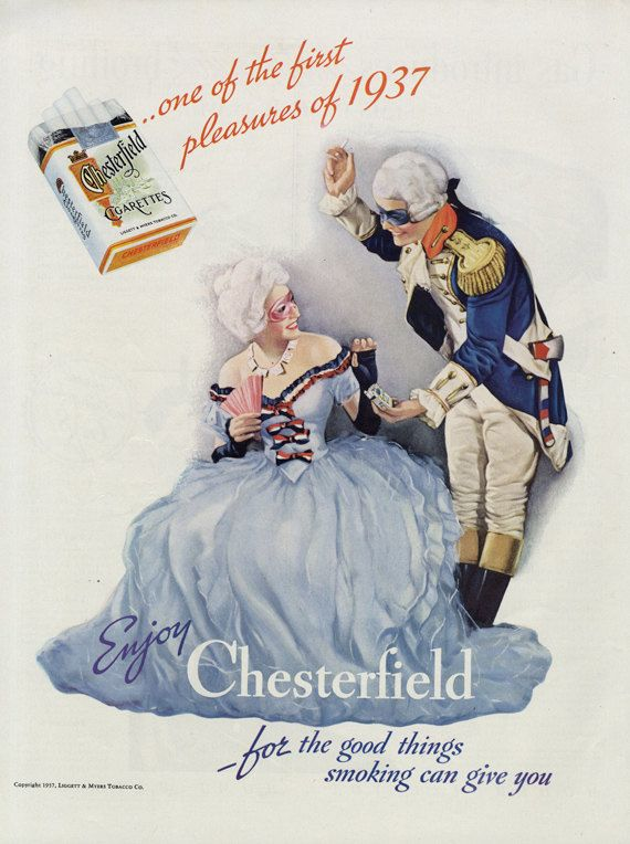 1937 Chesterfield Cigarettes Ad Masked Ball by AdVintageCom