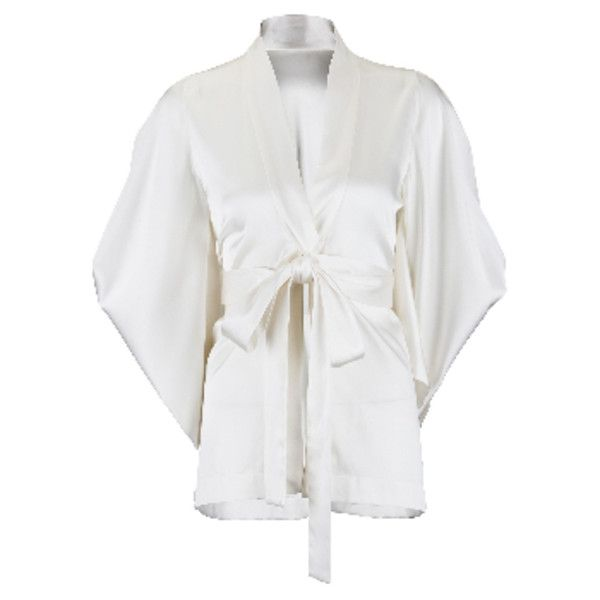 Butterfly Silk Kimono Short Dressing Gown ($570) ❤ liked on ...