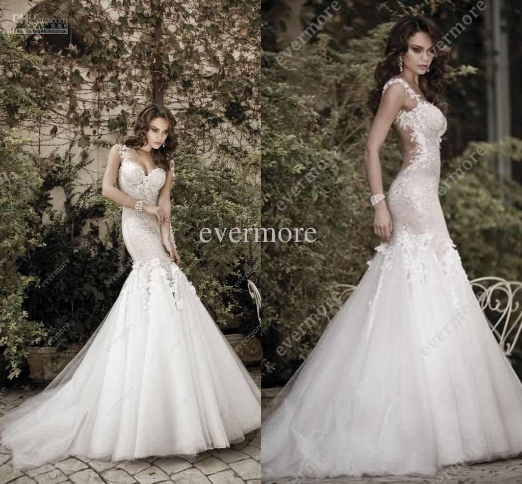 LUXURY Style Spaghetti Strap Tulle Mermaid Wedding Dresses Lace ...