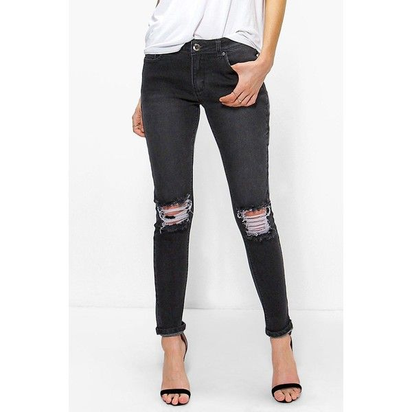 bdc8583041 Boohoo Blue Hannah Mid Rise Skinny Jeans With Slit Knee ( 28) ❤ liked on. Ripped  Skinny JeansDistressed ...