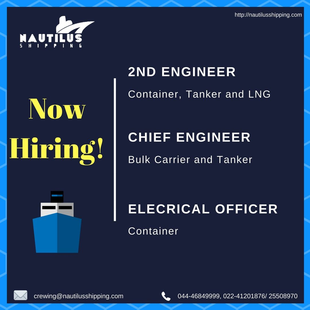 Job Openings: 2nd Engineer (Vessel Type: Container, Tanker and LNG
