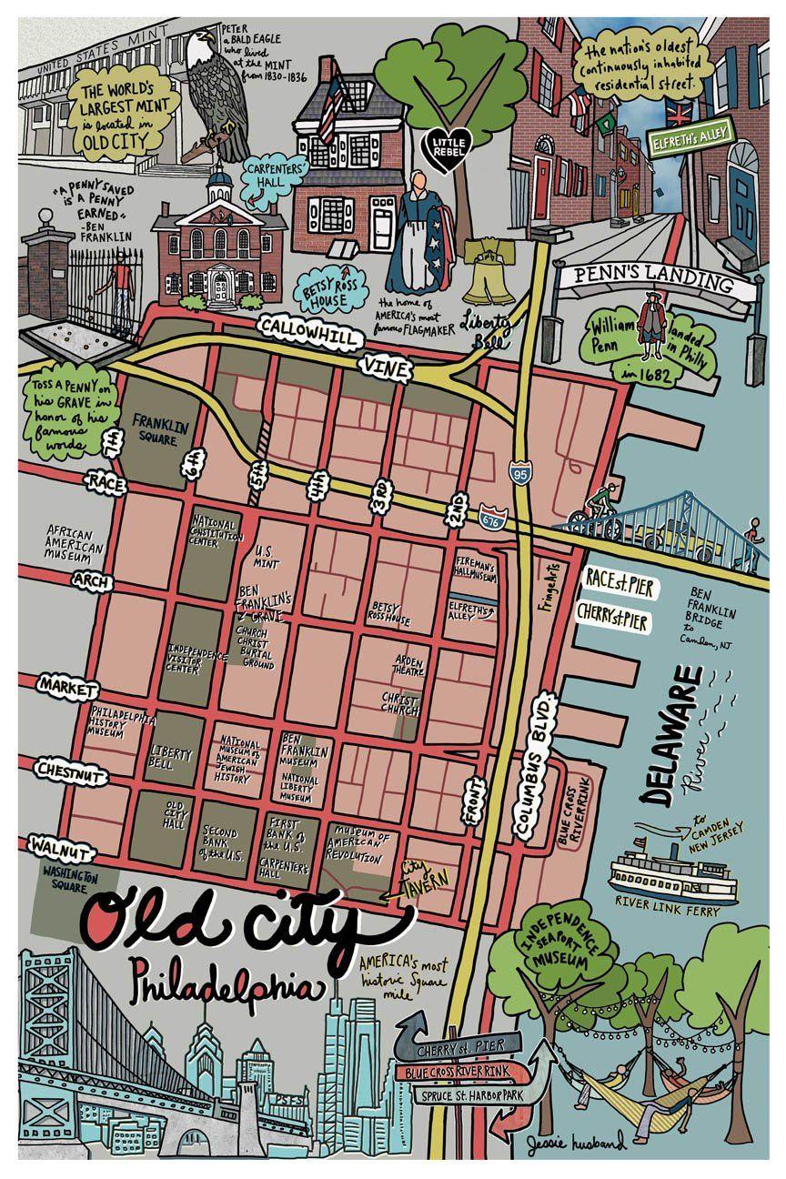 Map Of Old City Philadelphia Old City Philadelphia Map Train Map
