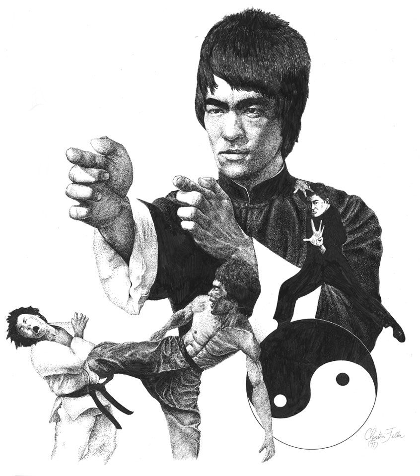 BRUCE LEE Collage PRINT Neal Adams art Dragon