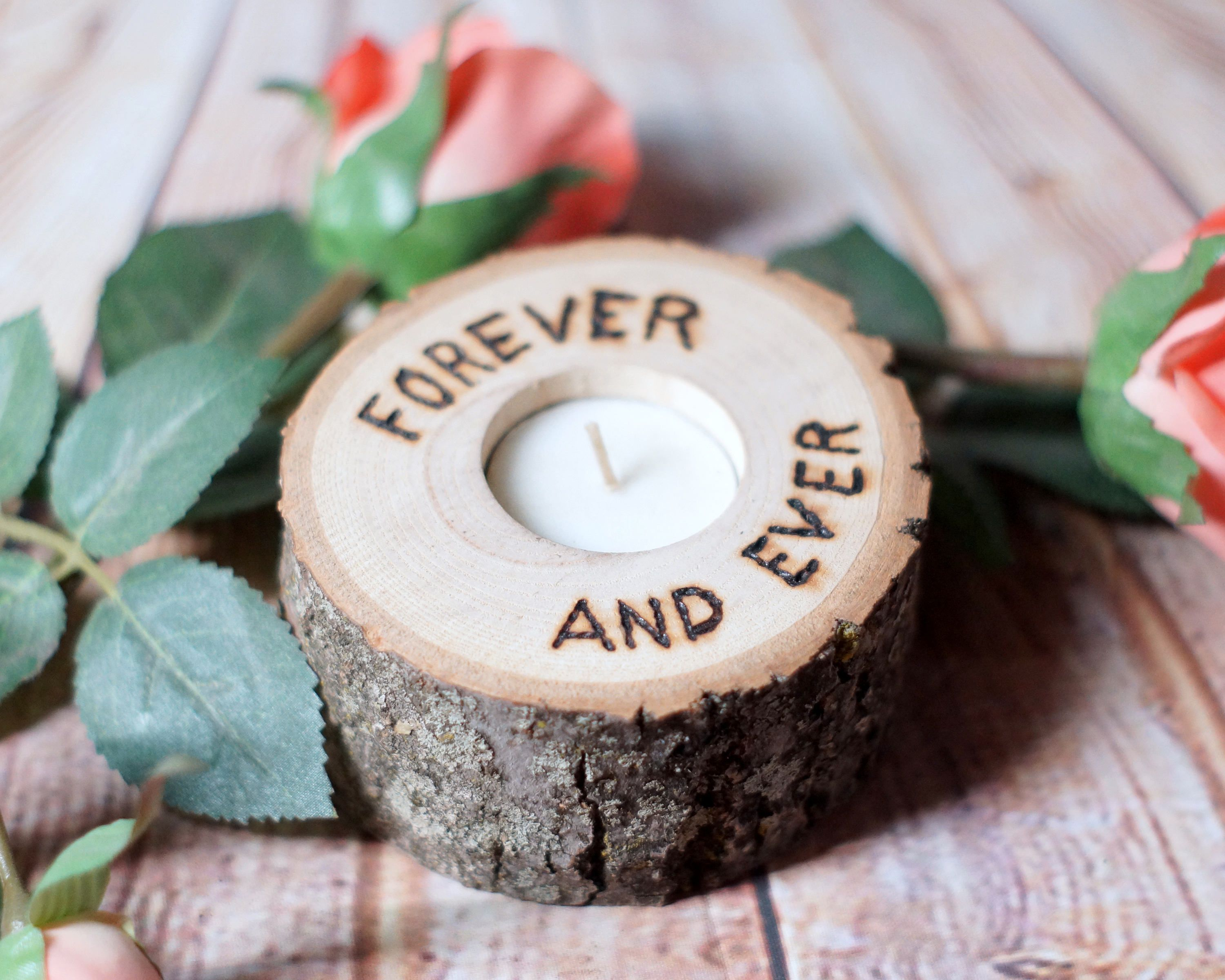 Forever And Ever Log Slice Candle Holder Couple Gift 5th