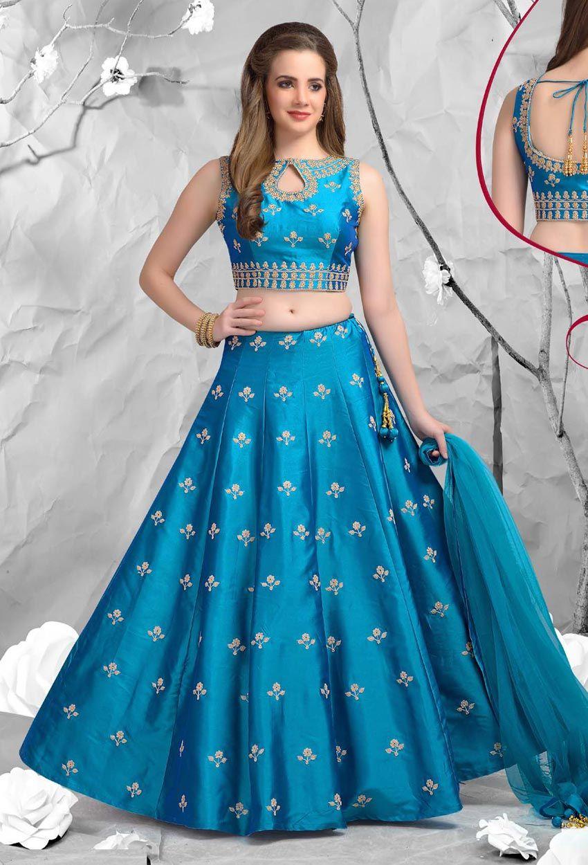 Blue Dupion Silk Party Wear Lehenga Choli #embroidery ...