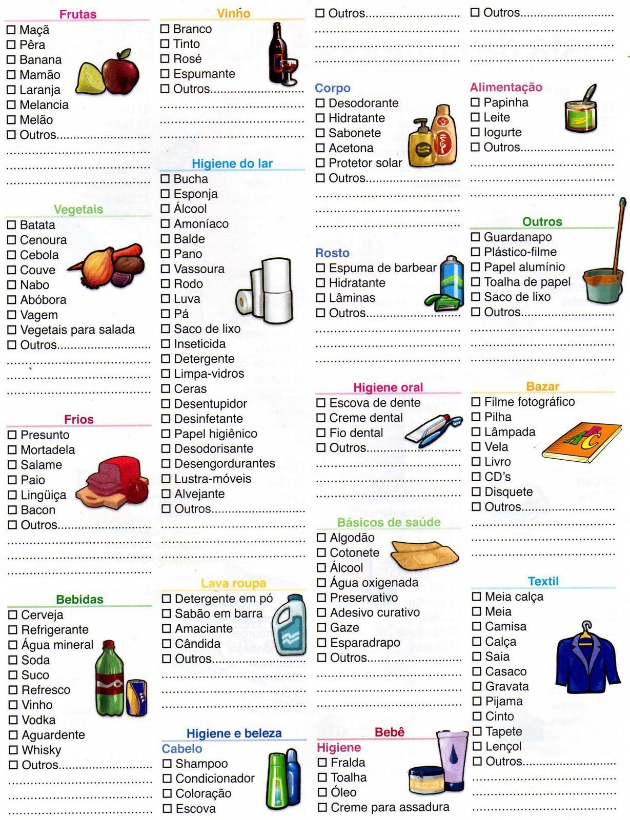 lista de compras supermercado excel