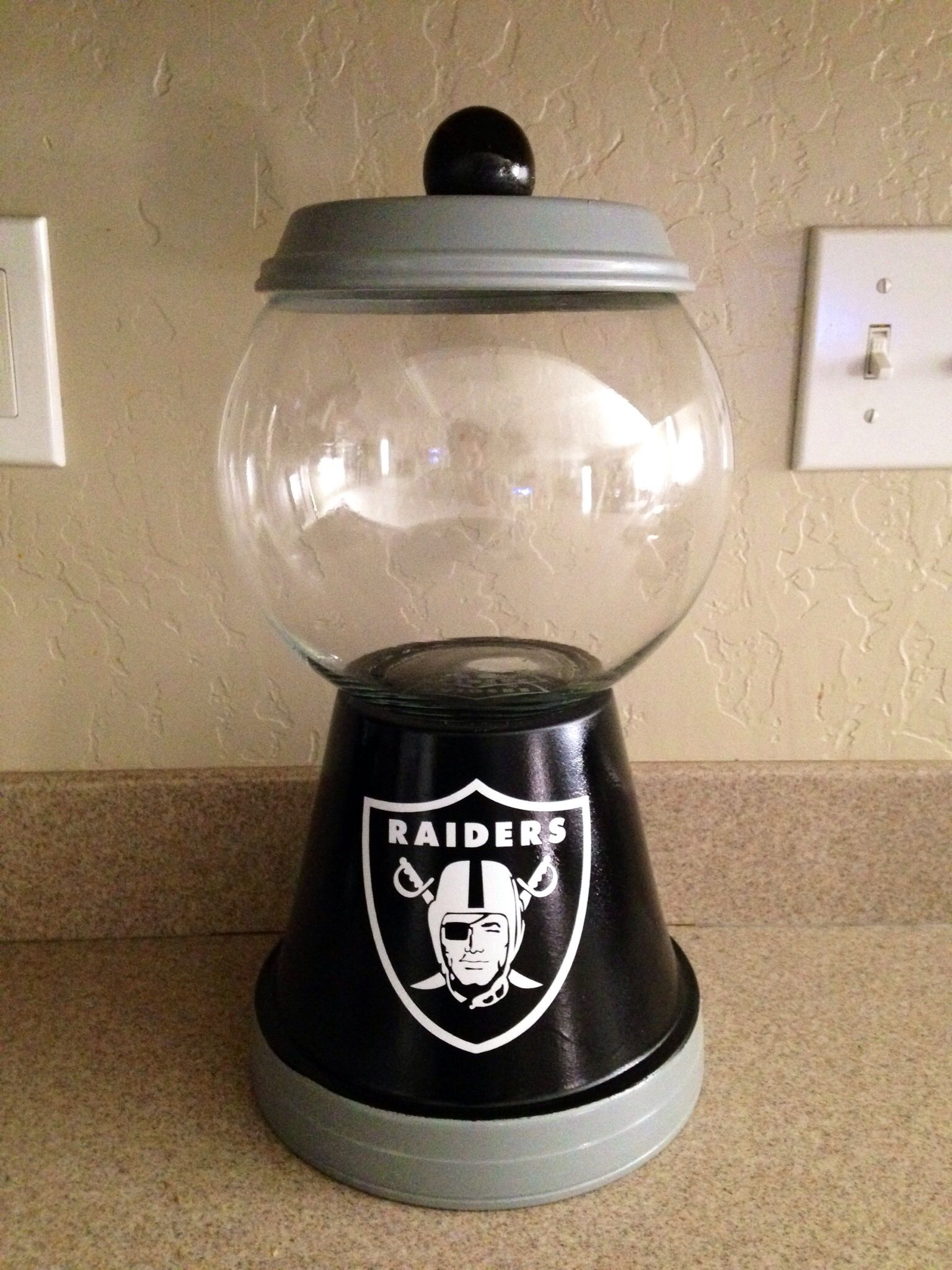 Oakland Raiders Candy Jar Idea To Resemble Gum Ball