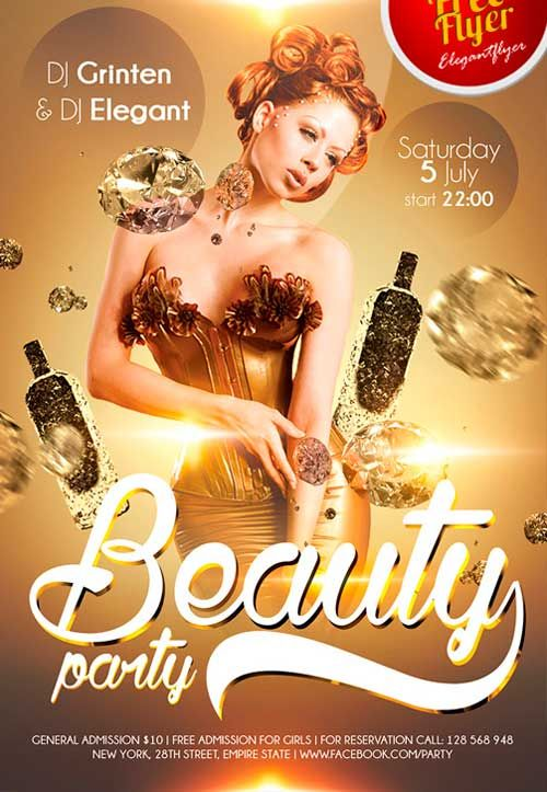 Free Beauty party PSD Flyer Template -   freepsdflyer/free
