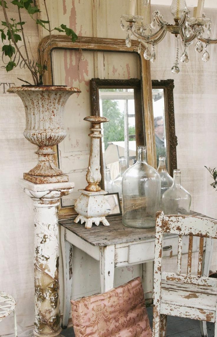 Vignette display ideas shabby chic white chippy furniture farmhouse cottage brocante