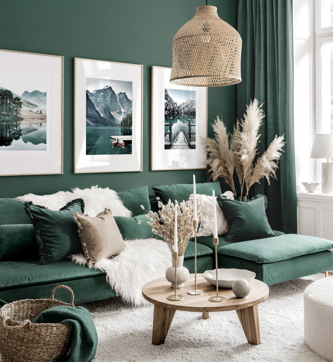 Stunning Gallery Wall Art Green Living Room Nature Posters Oak Frames In 2020 Living Room Green Beautiful Living Rooms Decor Cosy Living Room #photo #frames #living #room