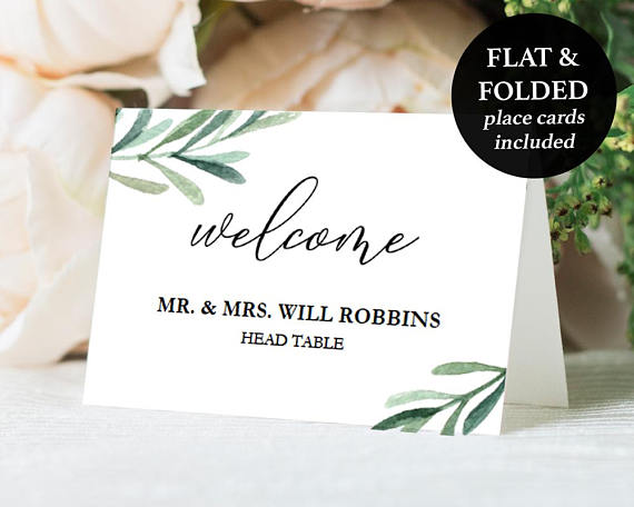 Printable Place Cards Wedding Place Card Download Greenery Etsy Printable Place Cards Wedding Wedding Place Cards Printable Place Cards