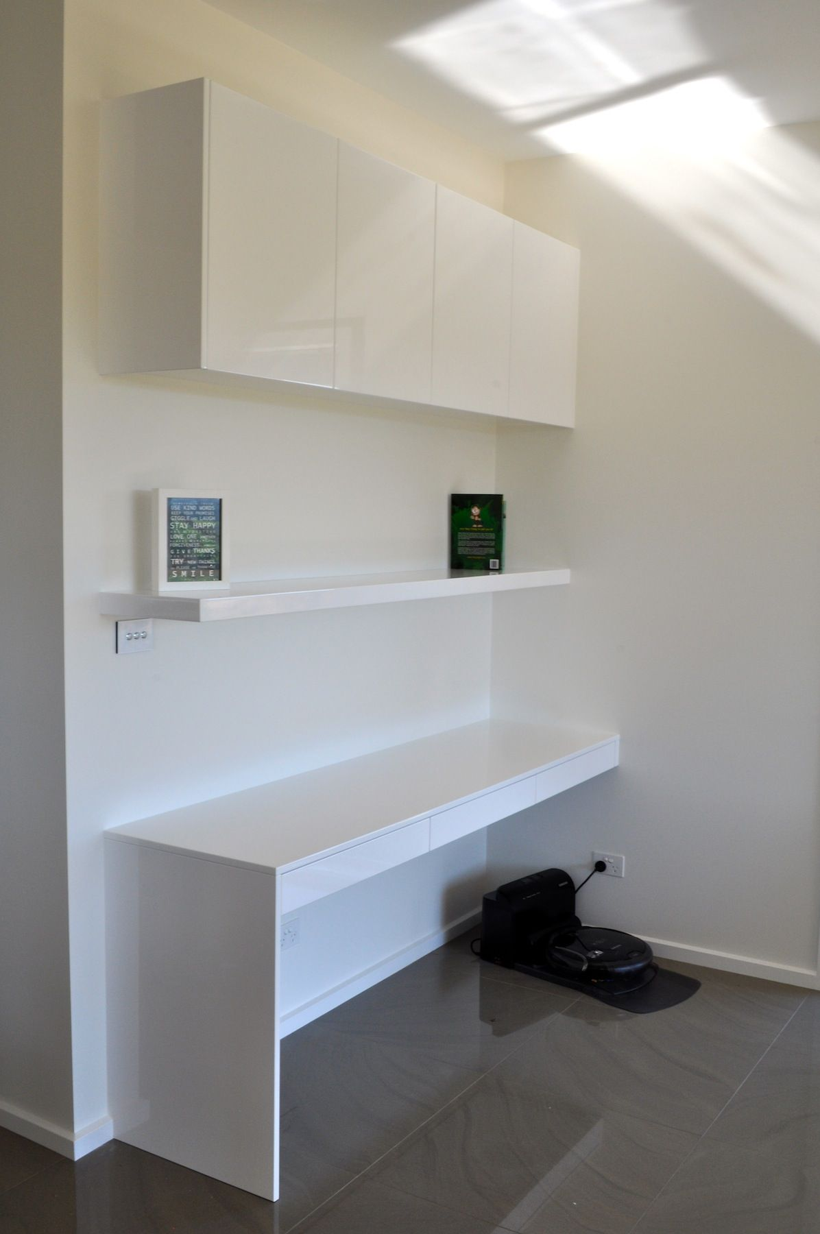 Built In Desk, Floating Shelf And Overhead Cabinet Finished In Stunning  Glossu2026