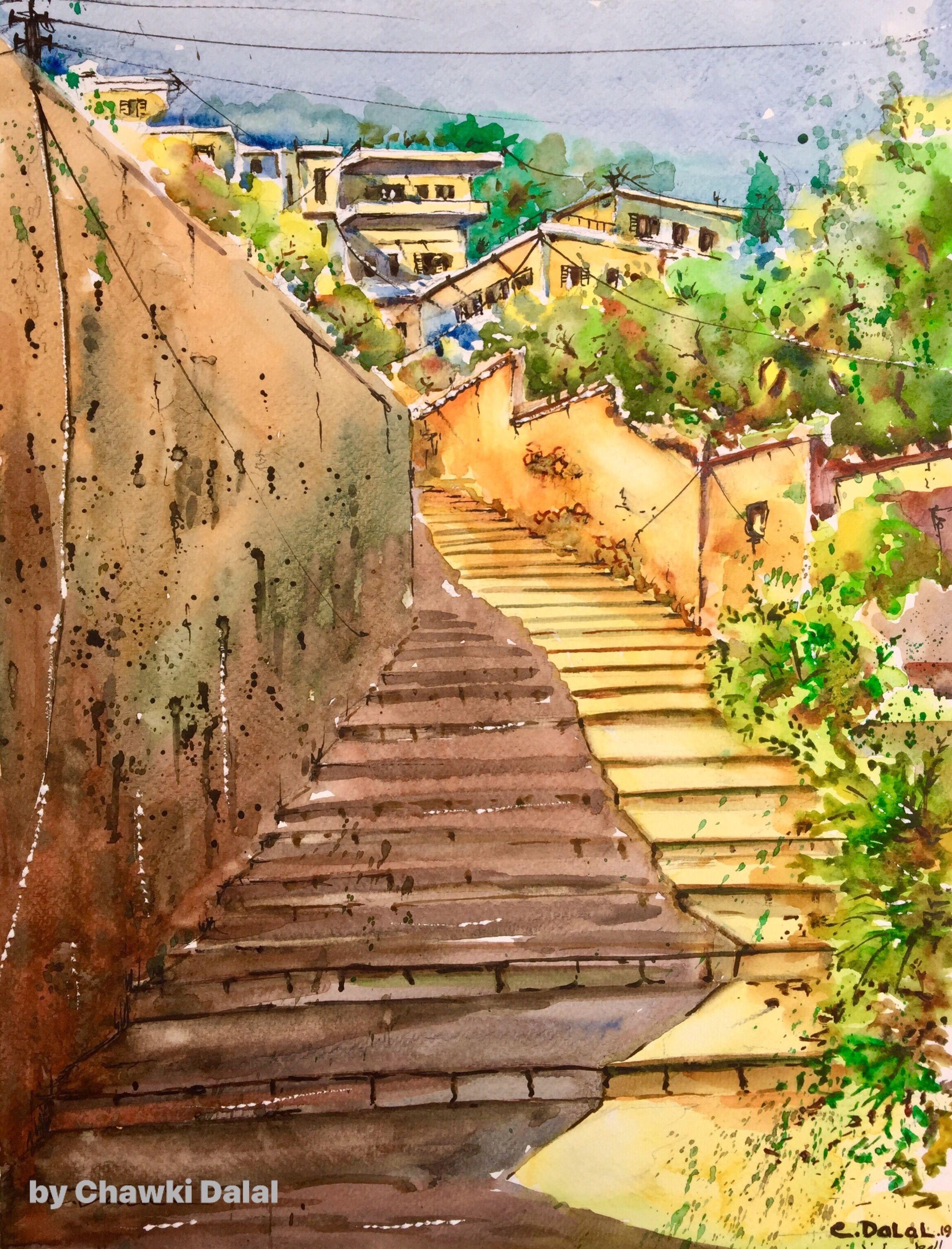 Water Painting By Artist Chawki Dalal Lebanon لوحة جديدة من الهرمل لبنان على هذا الدرج م ر طيف إينانا فف لش ت الاصفر وإخض و ض Sidewalk Art Structures