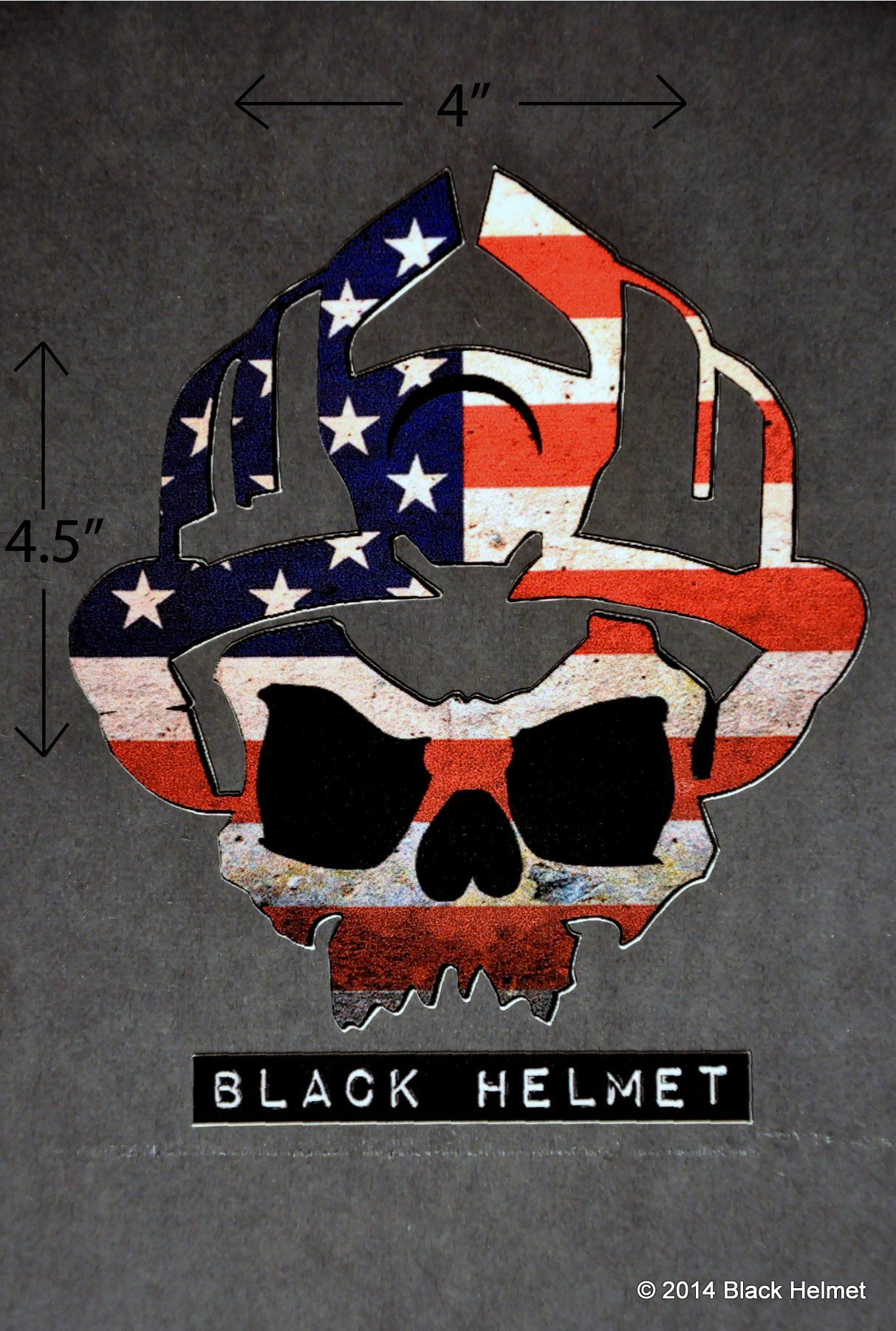 American Flag (Old Glory) Skull Logo Vehicle Decal - Black Helmet  Firefighter Shirts,