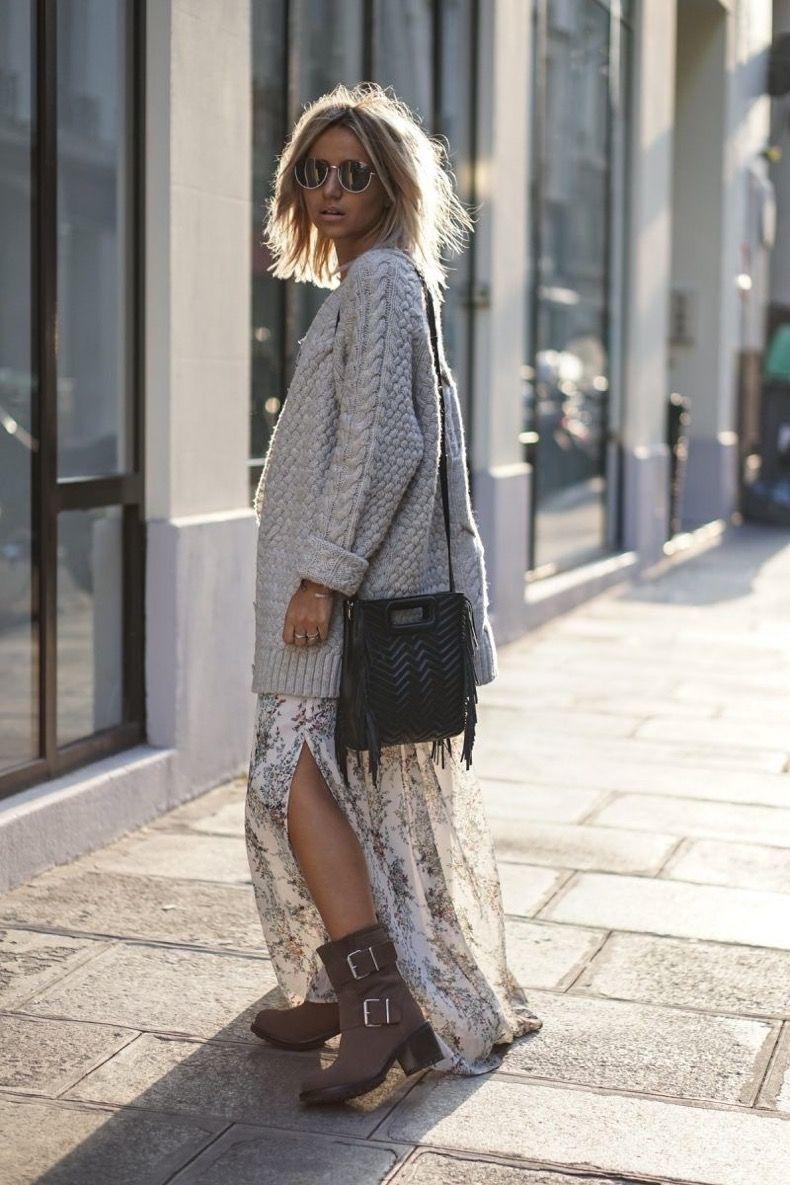 Vestido floreado en invierno