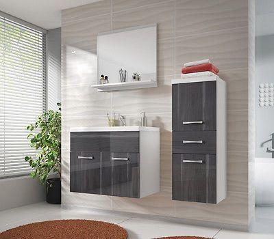 Modern badmöbel set badezimmer bella mini 4tlg mit waschbecken ebay