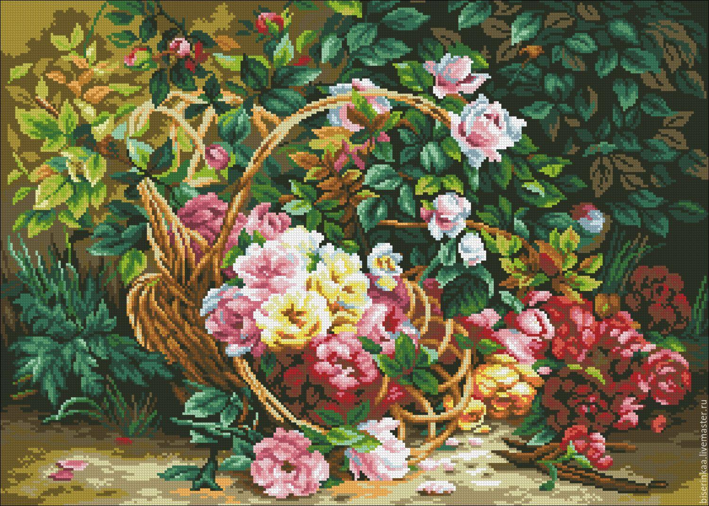 тюльпаны в корзине - вышивка крестом схема