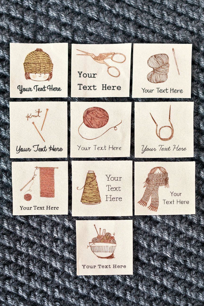 23b2831ea06df Personalized Knitting Labels, Fabric Tags for Handmade Items ...