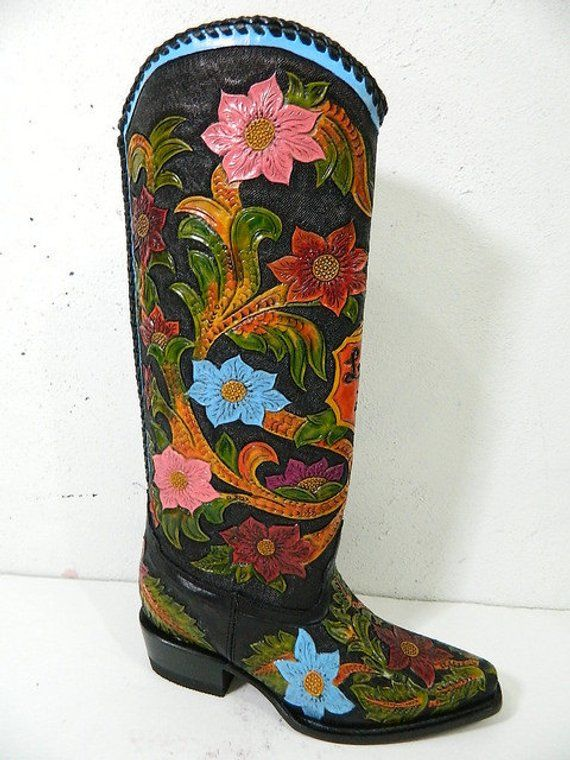 643646d76a58a Hand tooled cowboy boot 14 to 18 inch high made to order any style ...