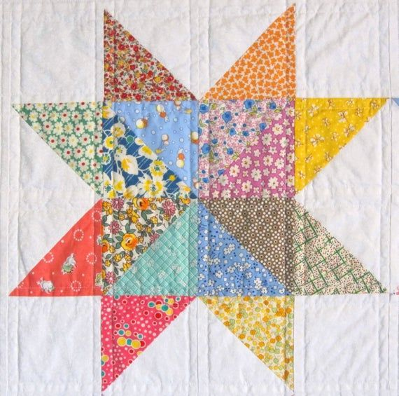 SCRAPPY STAR Quilt from Quilts by Elena 1930s Reproduction Fabrics Wall Hanging Table Runner