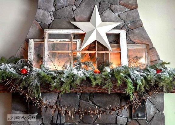 Old Windows Christmas Mantel