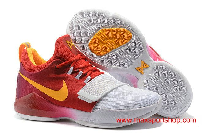 Cheap Nike PG 1 id White Red Orange Basketball Shoes For Men Special Sale